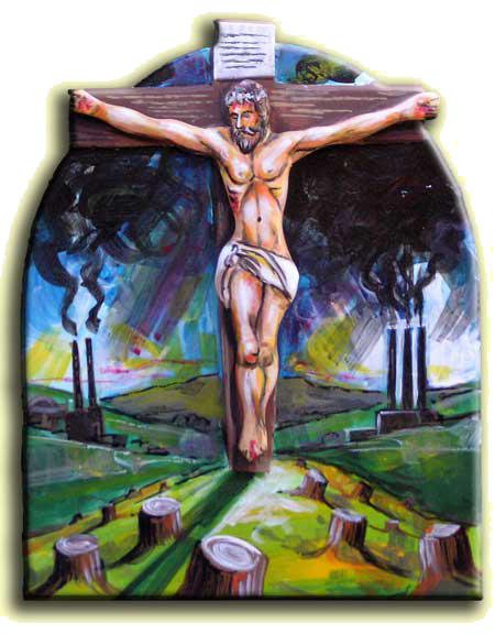 The Cosmic Christ and Global Warming, retablo by Gene McClain
